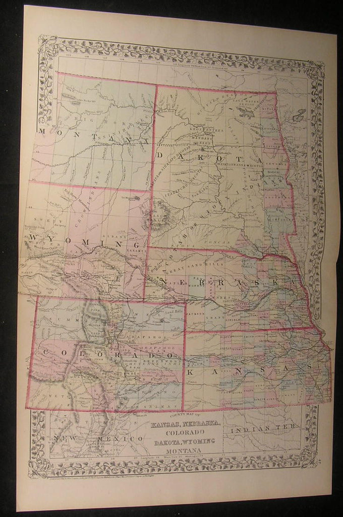 Kansas Nebraska Colorado Dakota Wyoming 1872 fine old large detailed color map