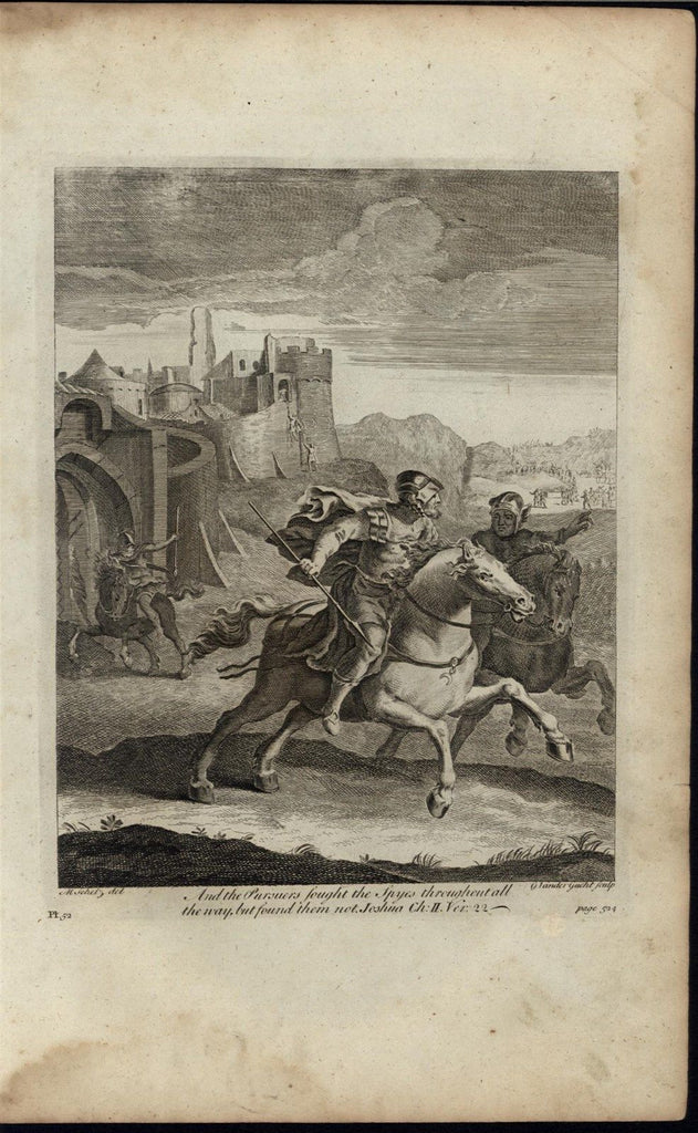 Spies Fleeing Horseback Walled City c.1750 antique copper engraved Bible print