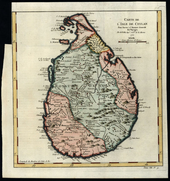 Ceylon Ceylan Sri Lanka 1750 Bellin beautiful detailed hand color map