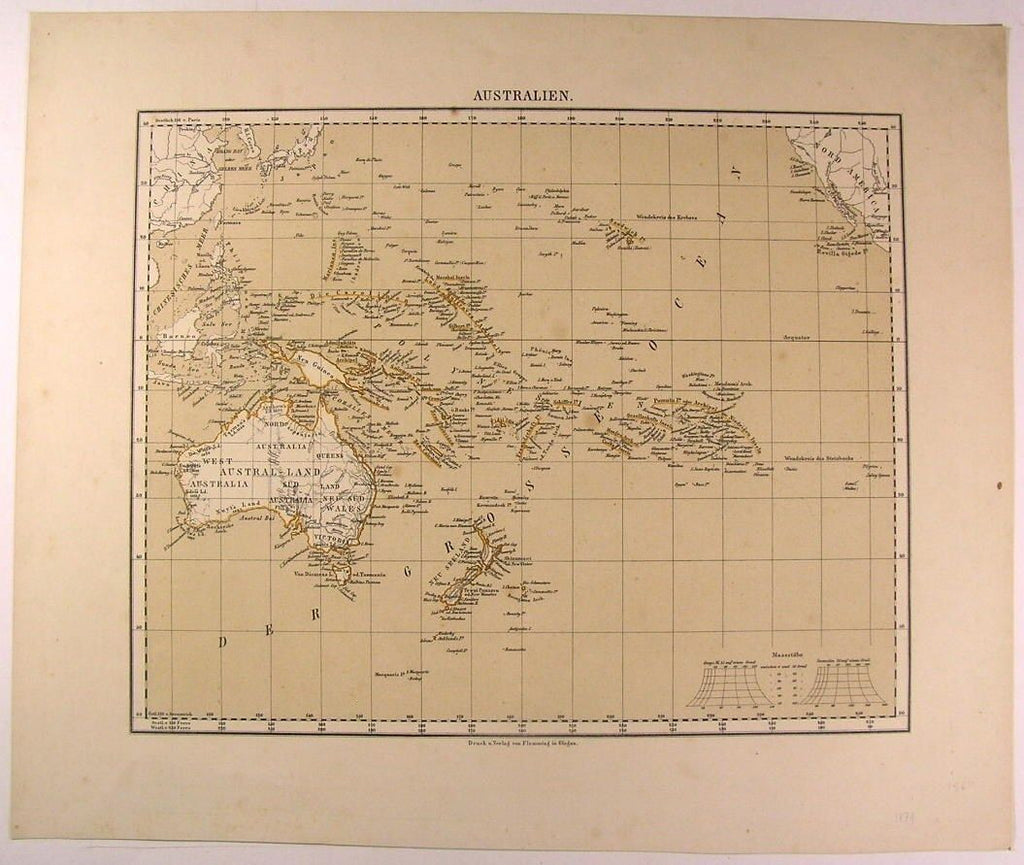 Australia New Zealand New Guinea Pacific Islands Fiji 1874 antique color map