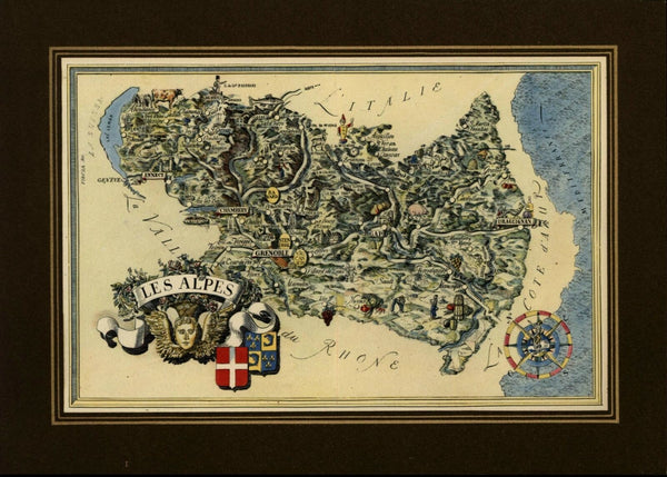 Alps Region France small cartoon map c. 1950 decorative colorful old map