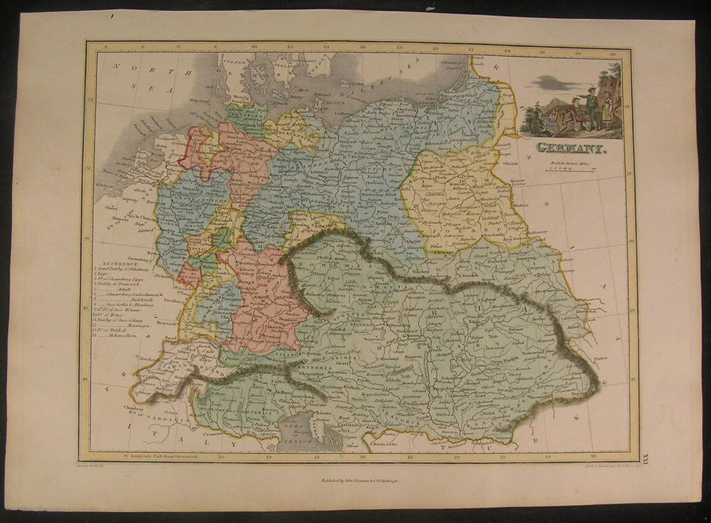 Germany 1820's by Thomson pleasing old vintage antique hand colored map