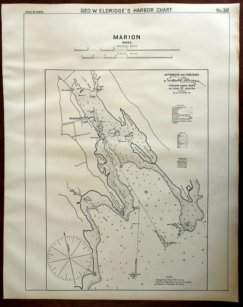 Marion Massachusetts Charles Neck 1901 Eldridge detailed coastal nautical survey