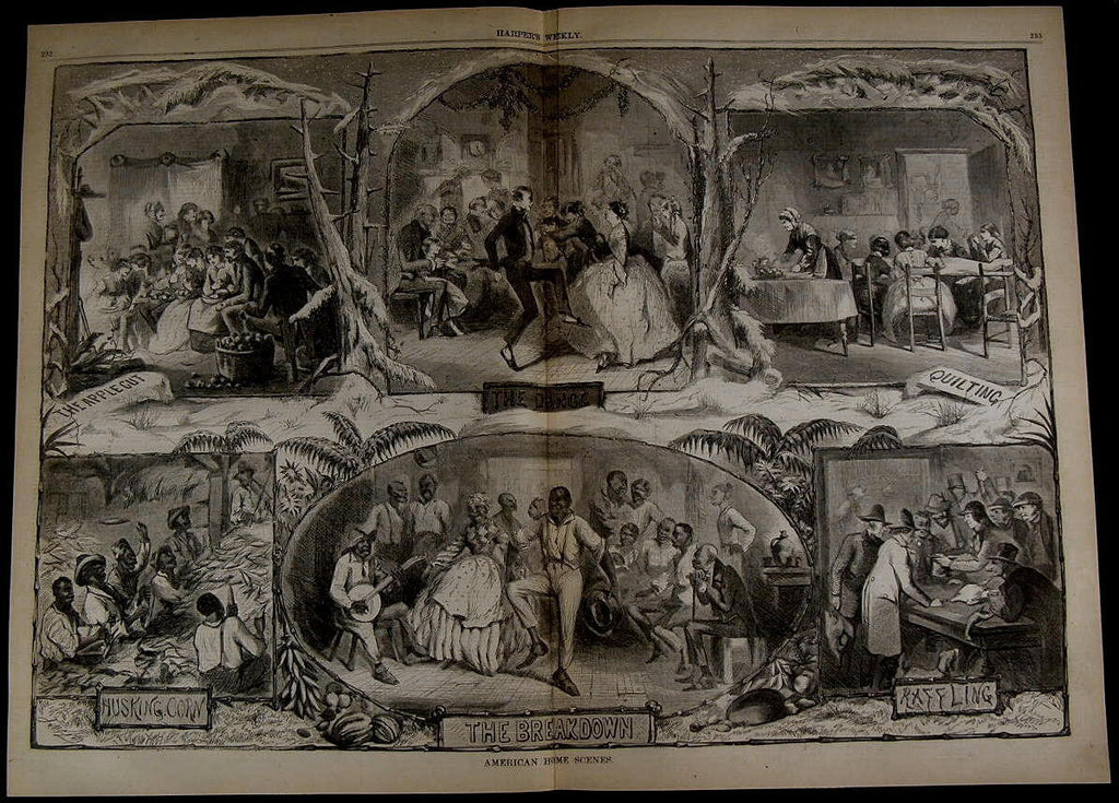 Home Scenes Dancing Quilting Husking Corn nice 1861 great old print for display