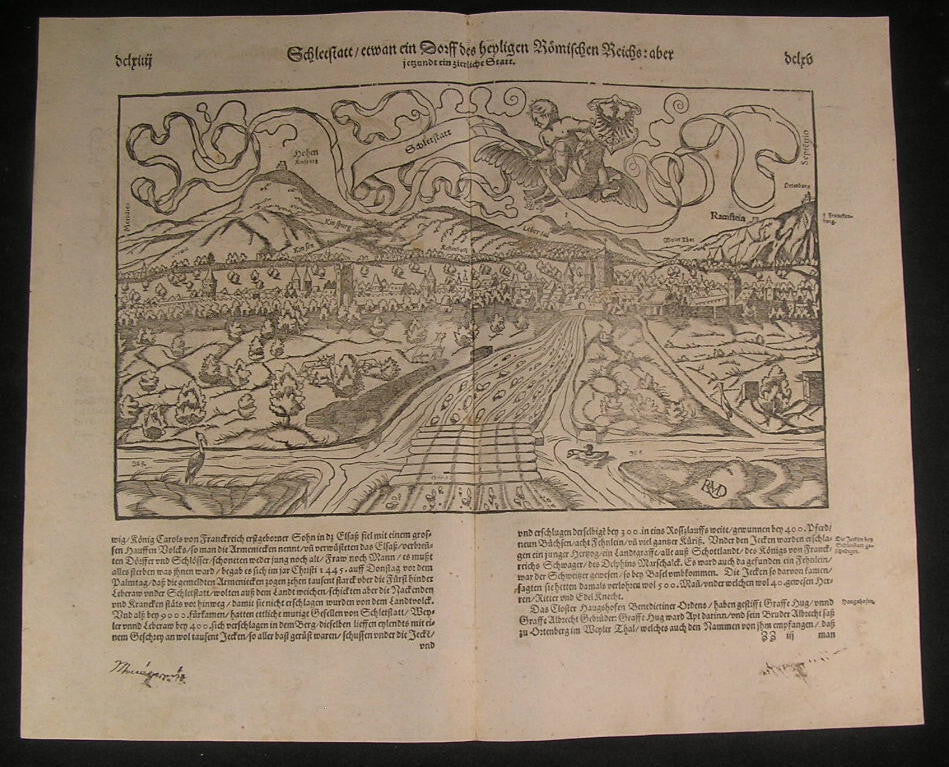 Selestat Alsace France 1598 fine antique Munster panoramic birds-eye city view