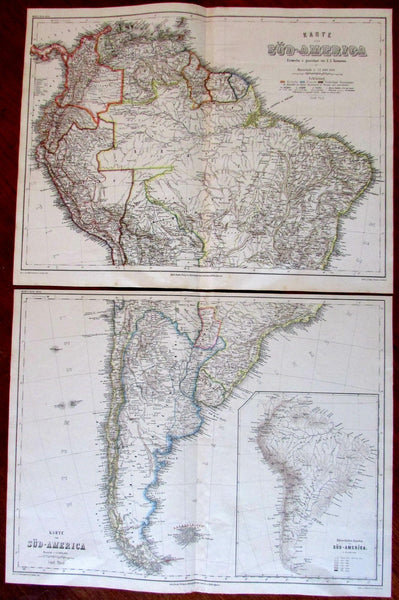 South America 1866 Ravenstein pair 2 old engraved maps large detailed Colonial