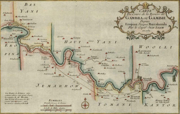 Africa west Gambia Yani Kantor 1732 Capt. Leach by Bellin c.1748 decorative map