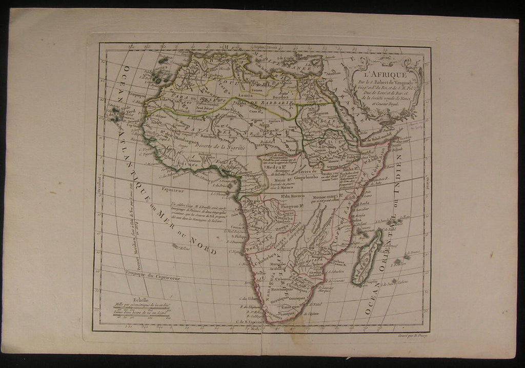 Africa 1770 Vaugondy decorative Mts. of Moon fine old vintage antique map