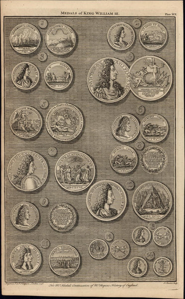 rare portrait Medals of King William III 1747 British Numismatic Medal old print