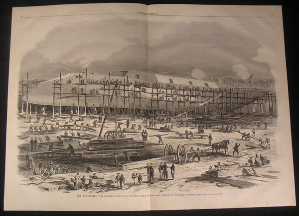 Dunderberg Greatest Man of War New York City 1863 antique wood engraved print