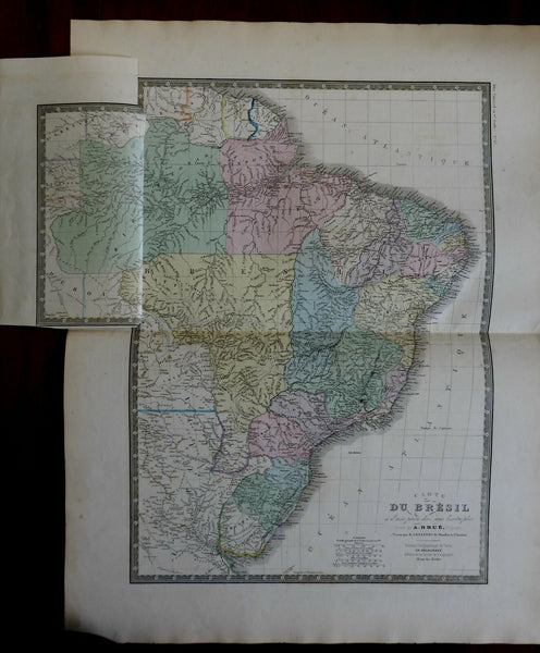 Brazil Uruguay Amazon River c. 1830's Brue large detailed map hand color