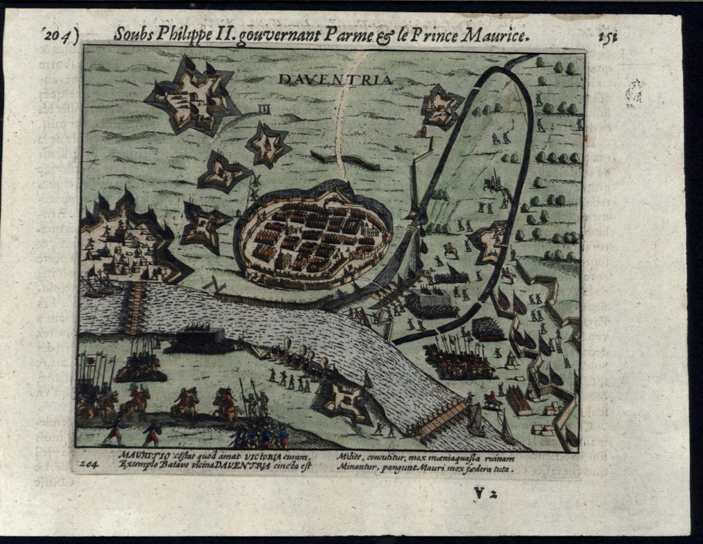 Siege Deventer Netherlands Dutch Revolt 1616 old Colijn hand color city plan map