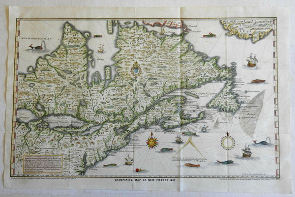 Champlain's 1632 decorative map of New France 1850 lithographed Pease re-issue