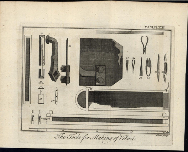 Tools for Making Velvet Shears Woven Tufted Fabric 1748 antique engraved print