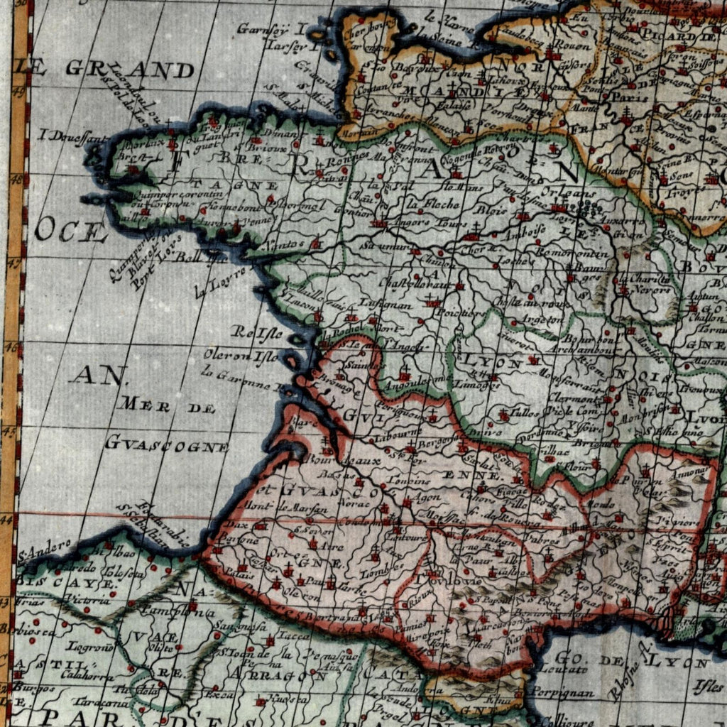 France 1699 Sanson beautiful old map hand color