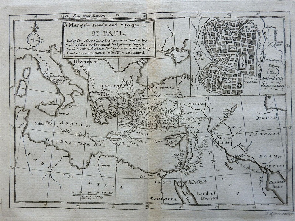 Travels of Apostle Paul Roman Empire Holy Land 1796 Rymer map Jerusalem cityplan