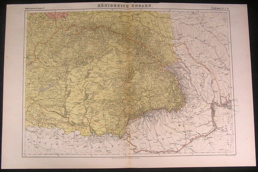 Empire of Hungary c.1875 fine old vintage antique Brockhaus detailed color map