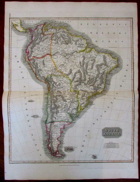 c.1815 South America Engraved Original Outline Hand Color Old Map