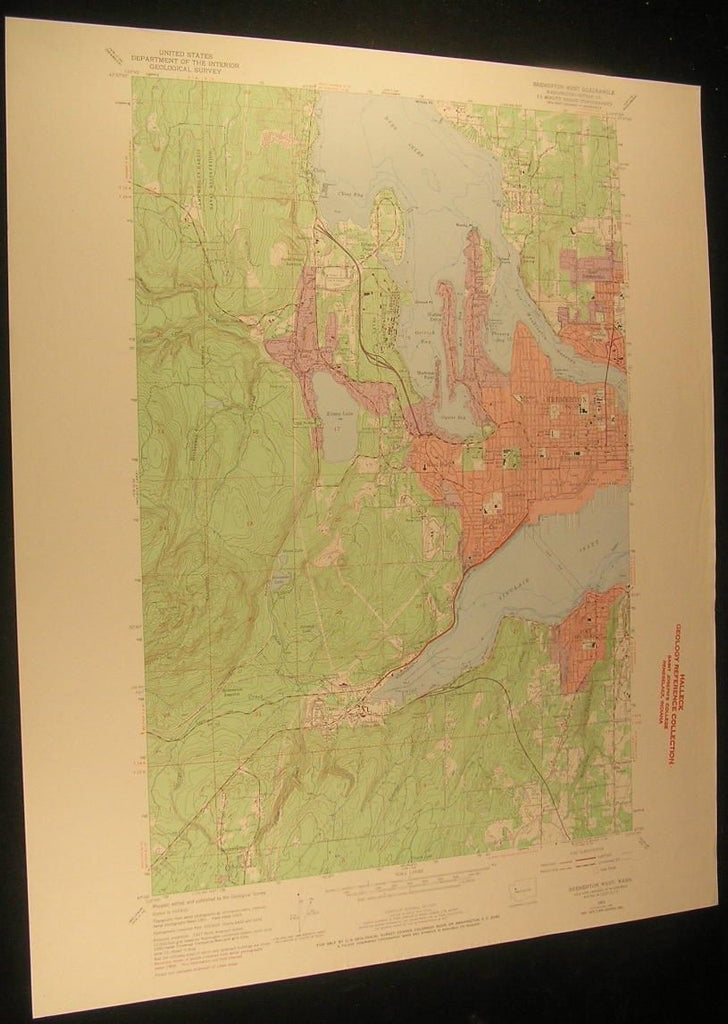 Bremerton West Washington Sinclair Inlet 1970 antique color lithograph map