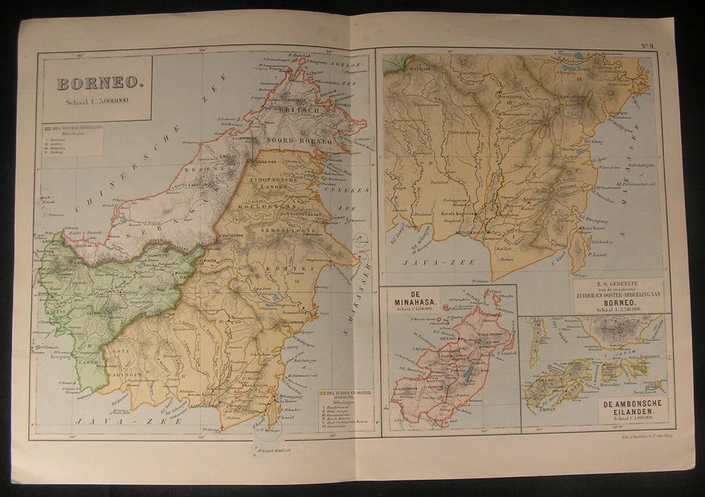 Borneo North Sulawesi Indonesia Ambon Islands 1918 vintage color lithograph map