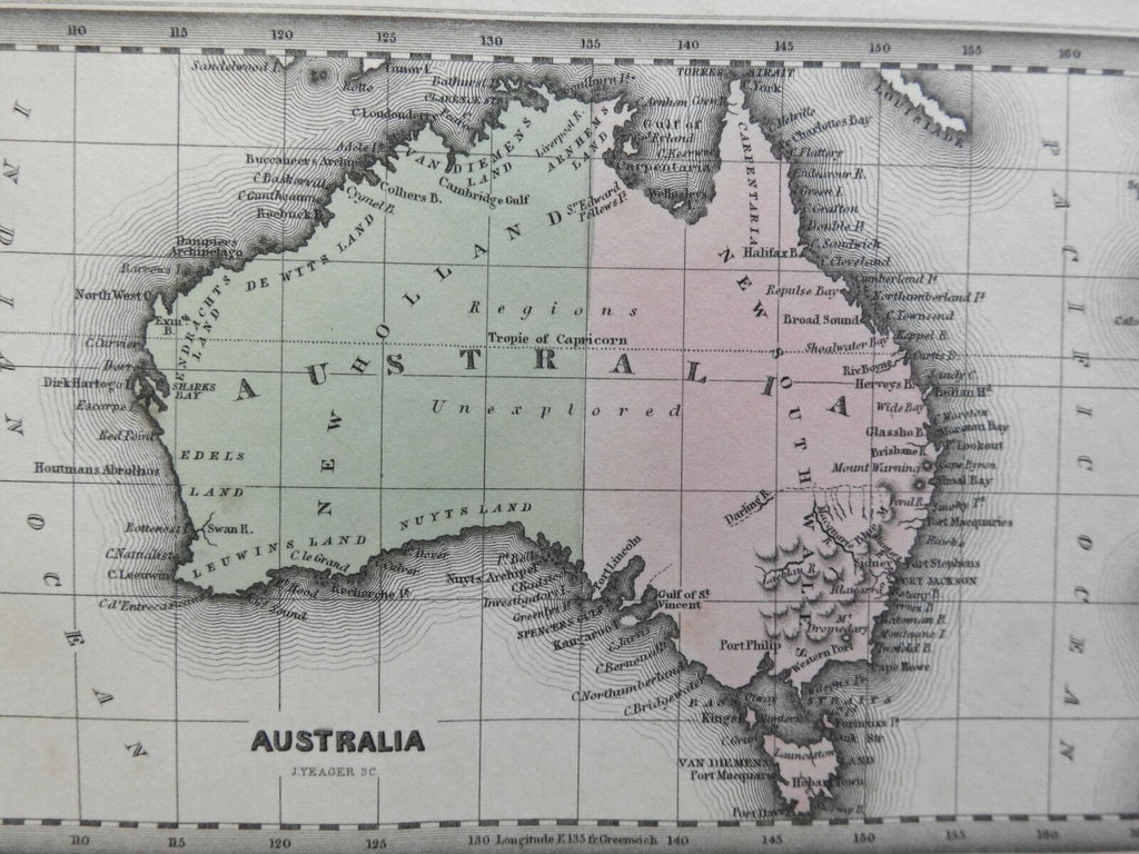 Australia Unexplored New Holland New South Wales Tasmania 1832 miniature map