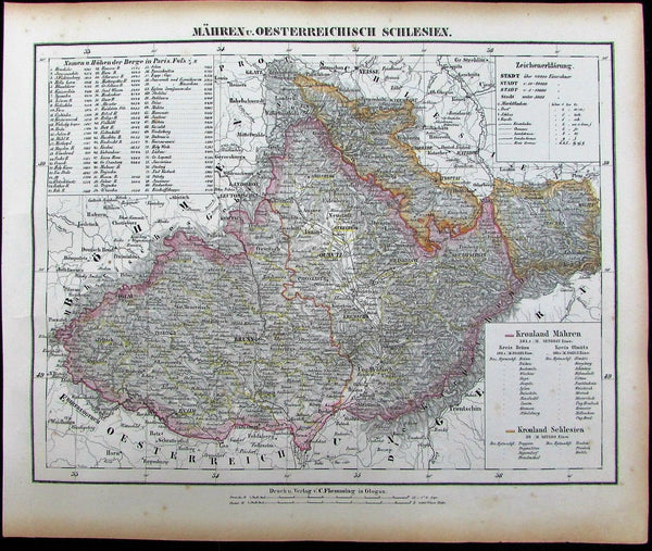 Austria Hungary Mahren Bohemia Poland 1852 Flemming old antique color map