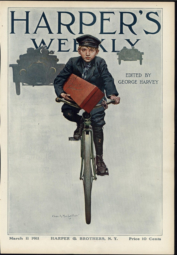 Young Bike Messenger Flower Delivery Early Automobile Bicycle Cover Art 1911