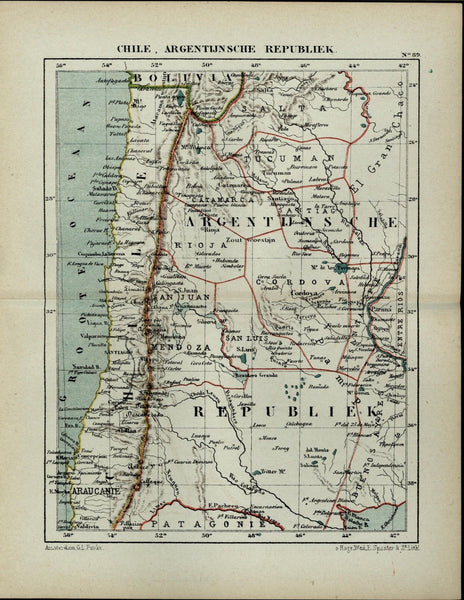 Argentina Chile Patagonia Bolivia South America antique 1882 detailed color map