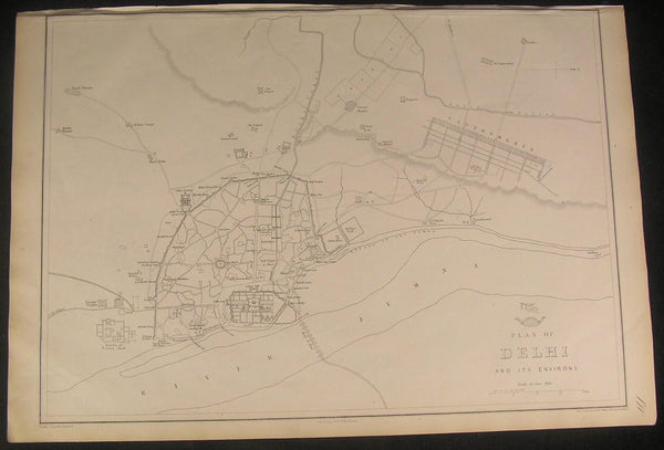 Delhi India detailed city plan by Weller c.1863 scarce old antique city plan