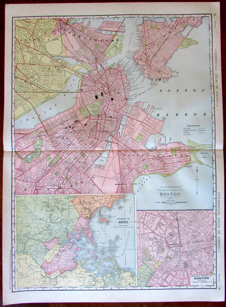 Boston city plan 1913 huge detailed Rand McNally map