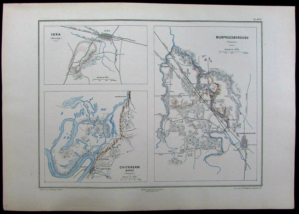 Murfreesborough Chicasaw Bayou Vicksburg Tennessee Mississippi c1885 antique map