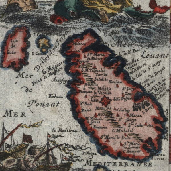 Malta island decorative merman 1719 old Mallet map hand color