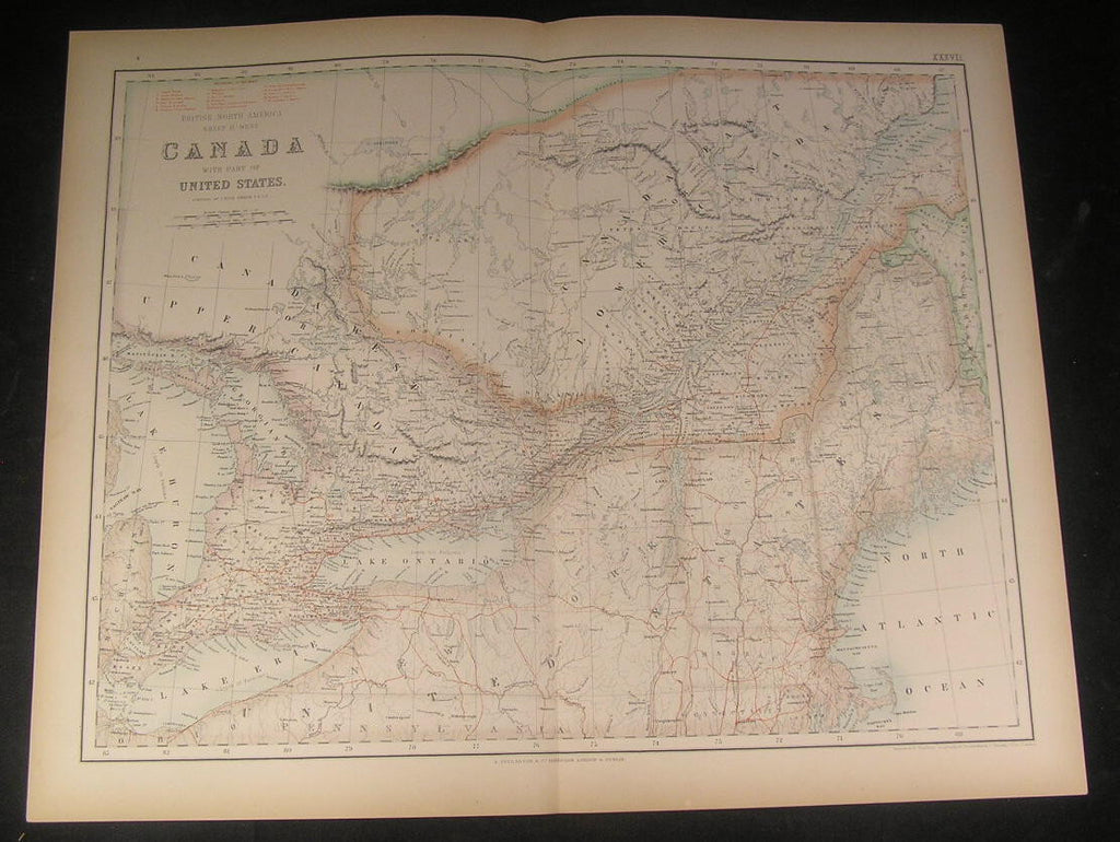 Canada New England Ontario Montreal ca. 1862 Fullarton fine antique color map