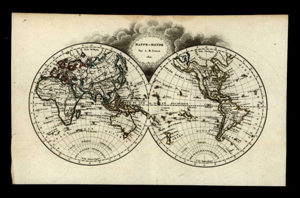 World in Double Spheres 1821 Perrot miniature antique engraved map