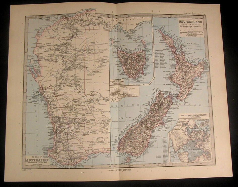 West Australia New Zealand 1894 antique fine detailed German engraved color map