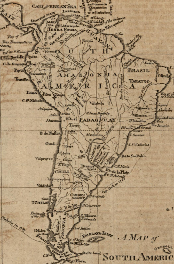 South America 1797 Callender scarce American engraved old map Wheat & Brun  #714