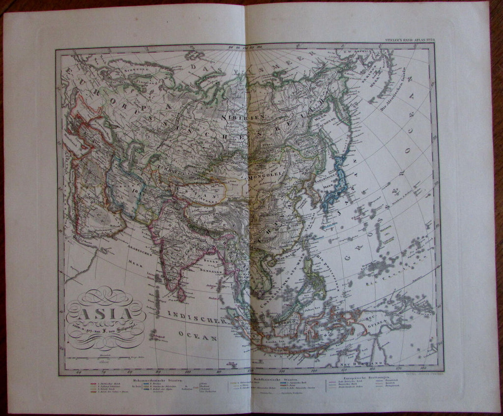 Asia Arabia to China India Persia Indonesia 1875 Stulpnagel detailed old map