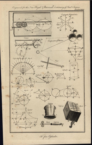 Composition of Motion Cycloid Spiral Cranes 1771 antique engraved print