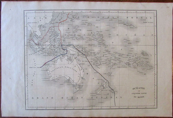 Australia New Holland Oceania Australasia 1830 scarce Langlois map not in Tooley
