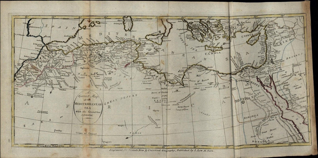 Mediterranean Sea North Africa Sicily Cyprus rare c. 1799 antique early map