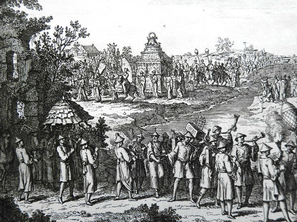 Chinese Religious Procession to Temple 1748 Bellin engraved print