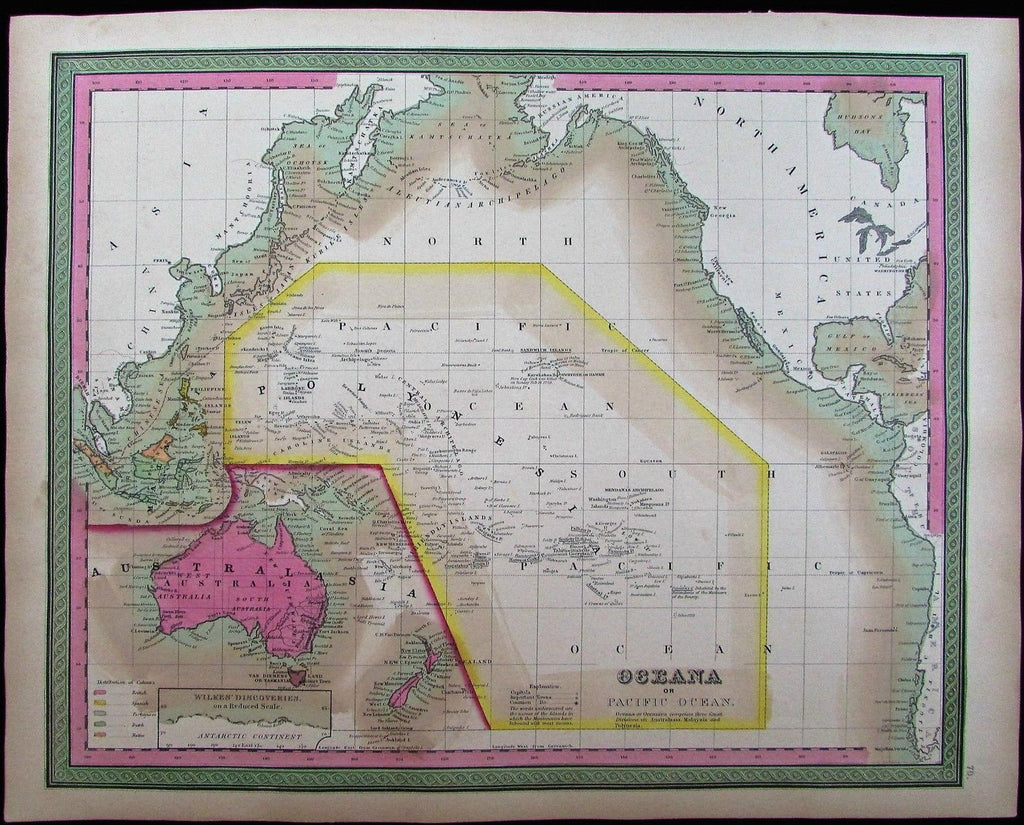 Oceania Pacific Islands Europe colonies Australia 1848 Mitchell fine antique map