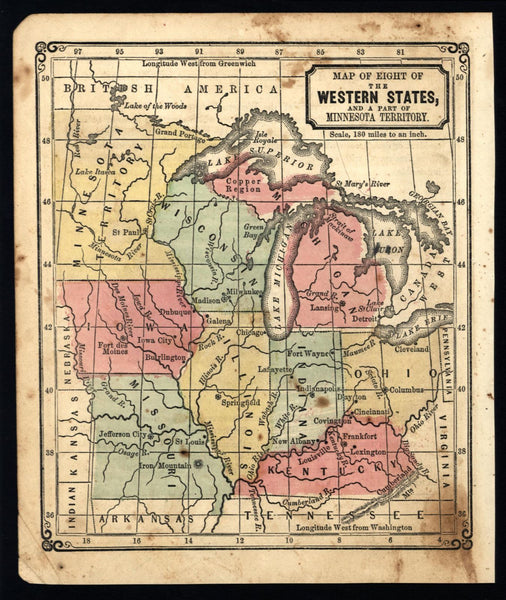 Mid-west Great Lakes MN WI MI 1855 antique U.S. state map old hand color