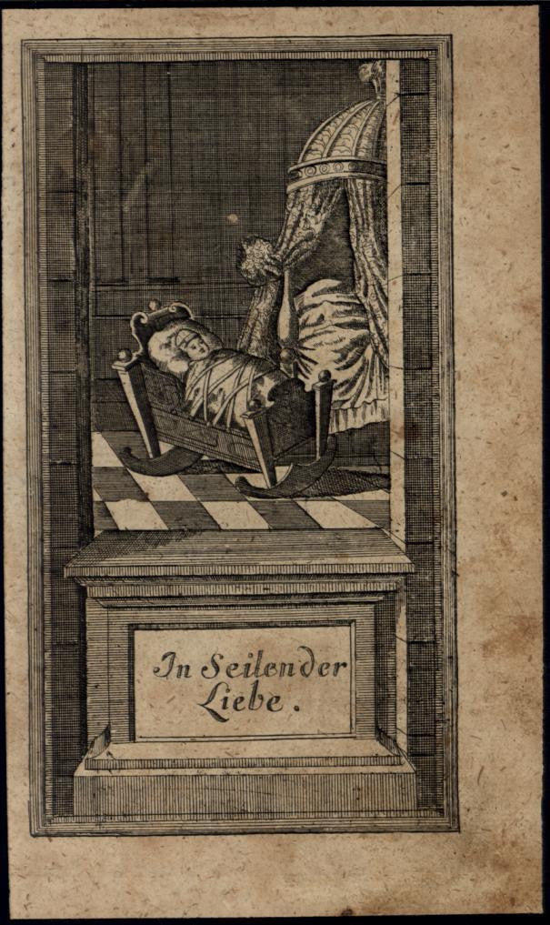 Baby Tied to Crib in Nursery 1740 charming unusual antique print