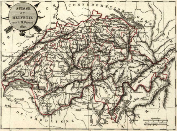 Switzerland Helvetia by Perrot 1822 scarce fine old vintage antique map