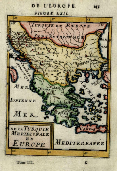 Ottoman Greece & Balkans Macedonia Morea Greece 1683 Mallet small map hand color