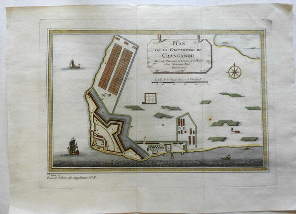 Cranganor Kodungallur India Dutch Colony Portuguese Fort 1761 City Plan map