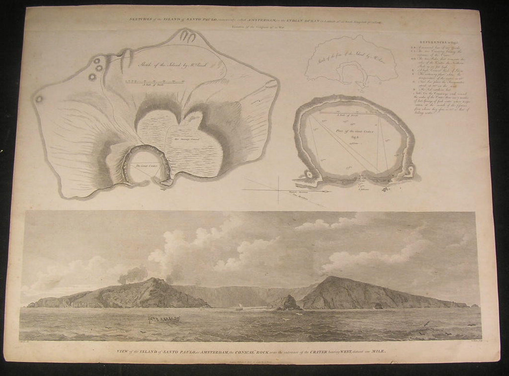 Island of Santo Paulo or Amsterdam 1796 large old vintage antique map