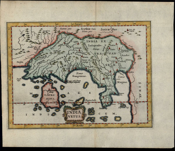 Southeast Asia India Taprobana Ceylon Sri Lanka Cambodia 1661 Jansson small map