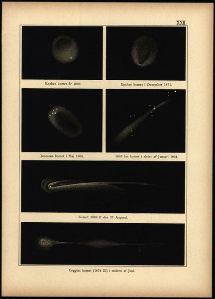 Comets in night sky 1824- 1888 Celestial stars print beautiful scarce